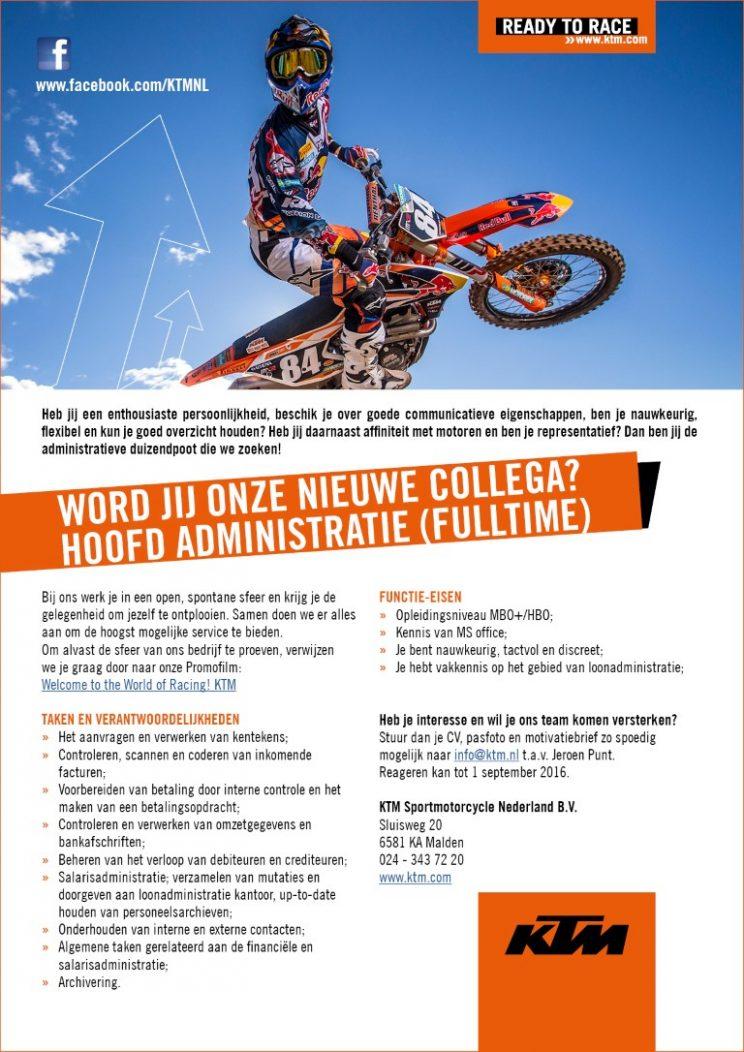 Vacature Hoofd Administratie KTM Sportmotorcycle Nederland